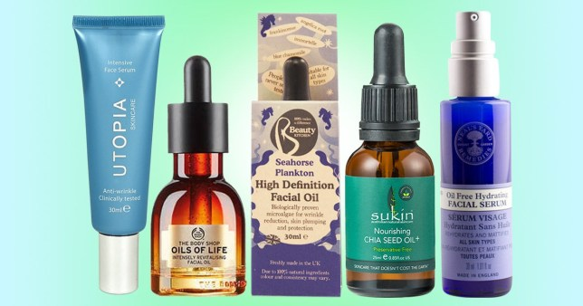 Vegan facial serums and oils