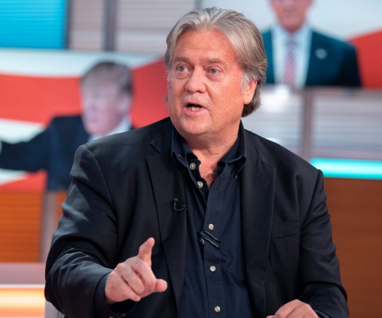 EDITORIAL USE ONLY. NO MERCHANDISING Mandatory Credit: Photo by Ken McKay/ITV/REX/Shutterstock (9760839bu) Steve Bannon 'Good Morning Britain' TV show, London, UK - 13 Jul 2018