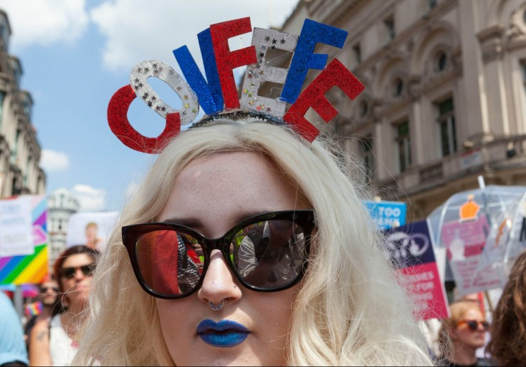 Mandatory Credit: Photo by Steve Parkins/REX/Shutterstock (9761011b) Drag queens join Women's March 'Make Some Noise' in central London to add their vioces to the protest aginst President Trump and his anti-LGBT policies 'Bring The Noise March' Anti Donald Trump Protest, London, UK - 13 Jul 2018