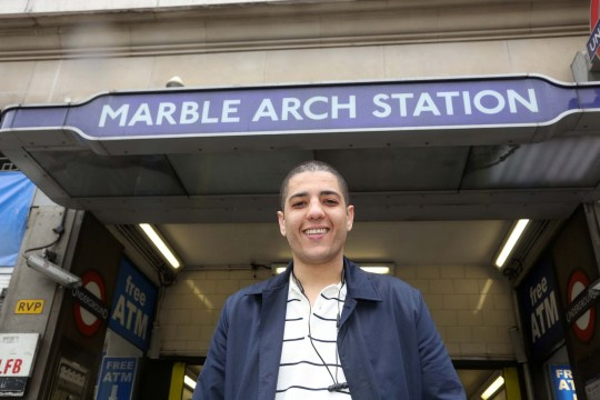 Riyad El-Hassani, a French national who saved the life of a 90 yr old captain of industry Sir Robert Malpas at Marble Arch underground station. Riyad is pictured outside Marble Arch station.