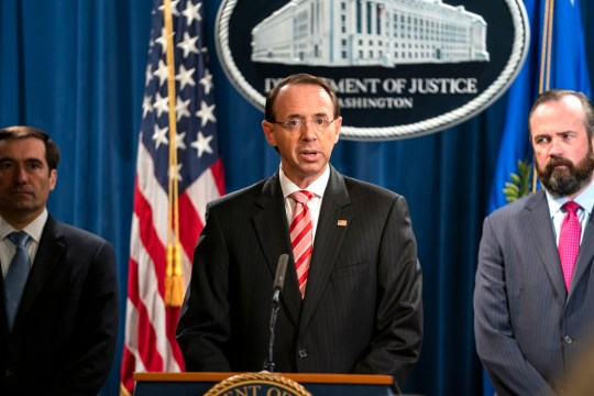 epa06886294 US Deputy Attorney General Rod Rosenstein announces that the Justice Department is indicting 12 Russian military officers for hacking Democratic emails during the 2016 presidential election at the Justice Department in Washington, DC, USA, 13 July 2018. The Russians involved were working for the military intelligence service GRU, according to Rosenstein. EPA/JIM LO SCALZO