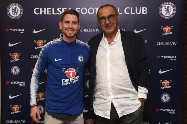 LONDON, ENGLAND - JULY 13: Chelsea Unveil New Signing Jorginho with Chelsea Head Coach Maurizio Sarri at Stamford Bridge on July 13, 2018 in London, England. (Photo by Darren Walsh/Chelsea FC via Getty Images)