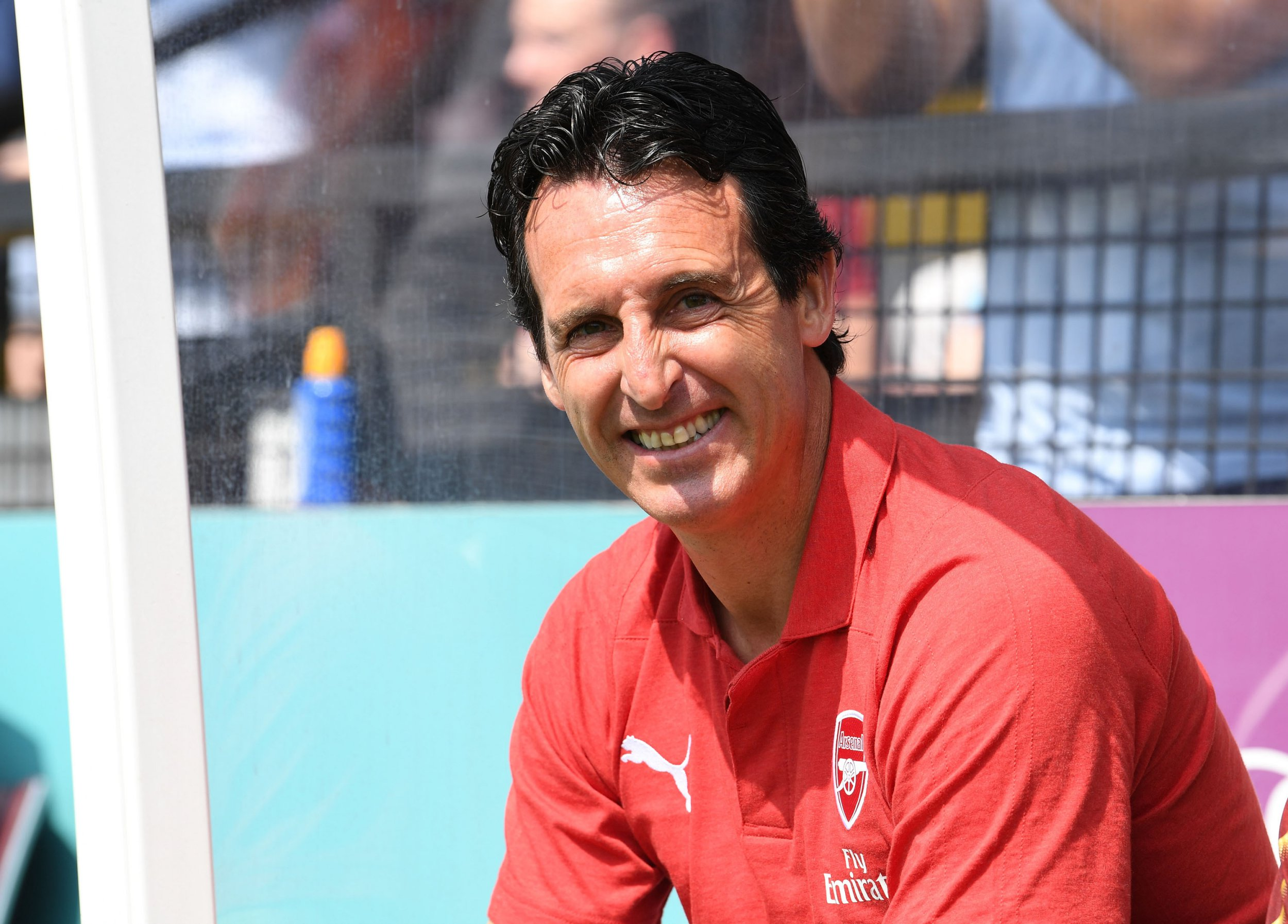 BOREHAMWOOD, ENGLAND - JULY 14: Arsenal Head Coach Unai Emery before the match between Borehamwood and Arsenal at Meadow Park on July 14, 2018 in Borehamwood, England. (Photo by David Price/Arsenal FC via Getty Images)