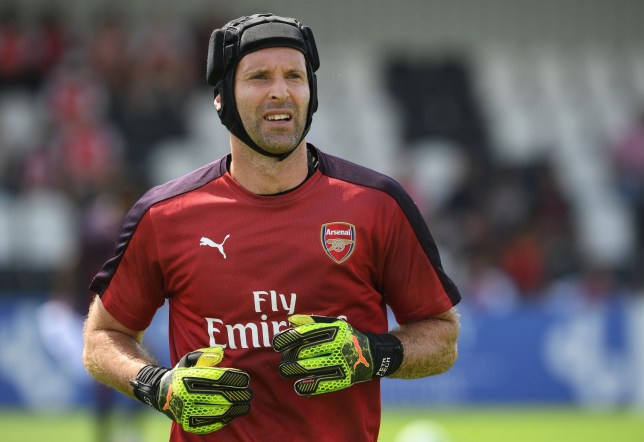 BOREHAMWOOD, ENGLAND - JULY 14: Petr Cech of Arsenal warms up before the match between Borehamwood and Arsenal at Meadow Park on July 14, 2018 in Borehamwood, England. (Photo by David Price/Arsenal FC via Getty Images)