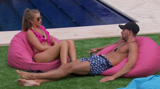 From ITV Studios Love Island: SR4: Ep42 on ITV2 Pictured: Sam and Georgia chat. This photograph is (C) ITV Plc and can only be reproduced for editorial purposes directly in connection with the programme or event mentioned above, or ITV plc. Once made available by ITV plc Picture Desk, this photograph can be reproduced once only up until the transmission [TX] date and no reproduction fee will be charged. Any subsequent usage may incur a fee. This photograph must not be manipulated [excluding basic cropping] in a manner which alters the visual appearance of the person photographed deemed detrimental or inappropriate by ITV plc Picture Desk. This photograph must not be syndicated to any other company, publication or website, or permanently archived, without the express written permission of ITV Plc Picture Desk. Full Terms and conditions are available on the website www.itvpictures.co.uk For further information please contact: james.hilder@itv.com / 0207 157 3052