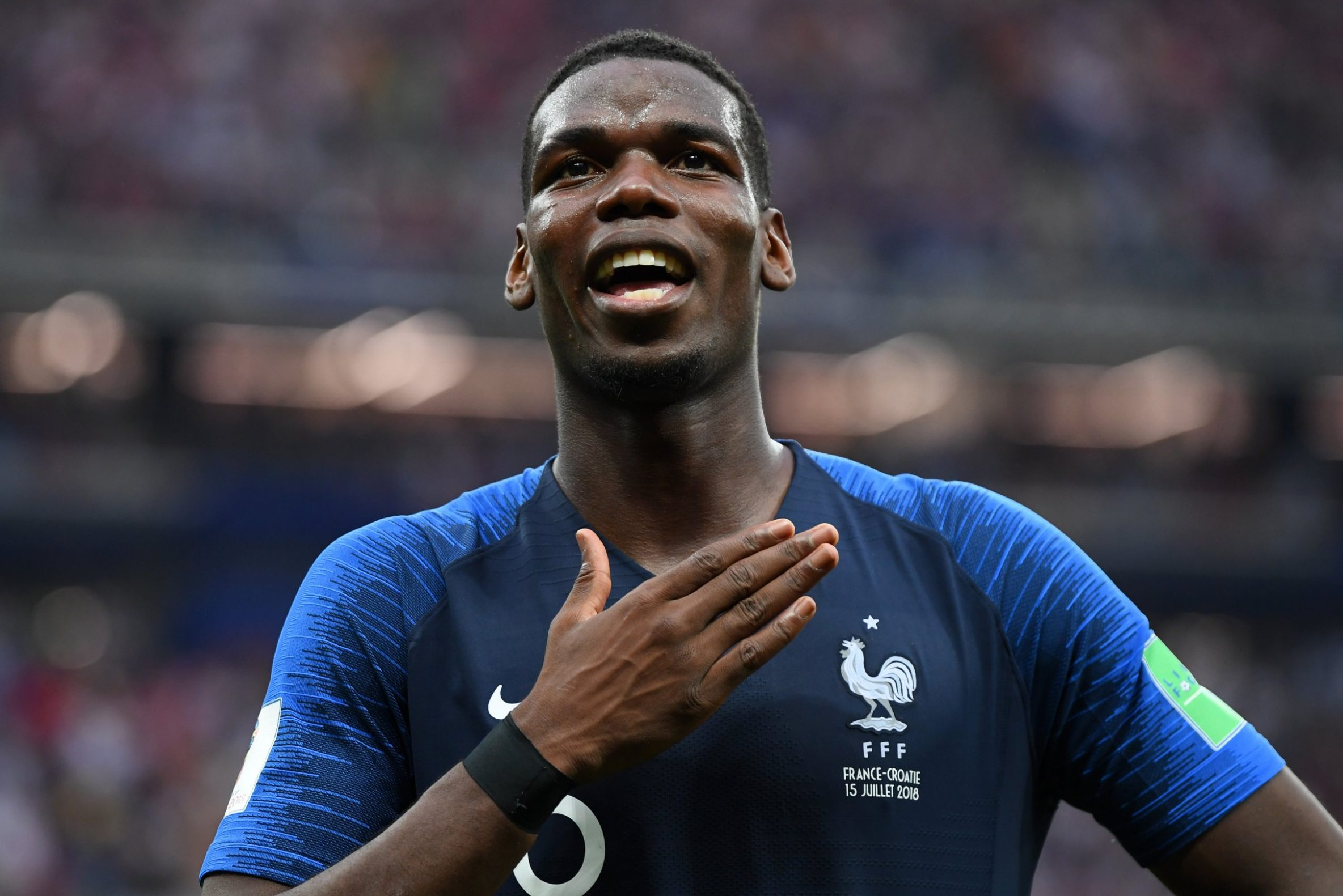 MOSCOW, RUSSIA - JULY 15: Paul Pogba of France celebrates following his sides victory in the 2018 FIFA World Cup Final between France and Croatia at Luzhniki Stadium on July 15, 2018 in Moscow, Russia. (Photo by Mike Hewitt - FIFA/FIFA via Getty Images)