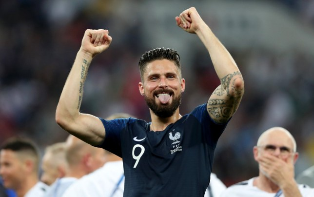 MOSCOW, RUSSIA - JULY 15: Olivier Giroud of France celebrates following his sides victory in the 2018 FIFA World Cup Final between France and Croatia at Luzhniki Stadium on July 15, 2018 in Moscow, Russia. (Photo by Clive Rose/Getty Images)
