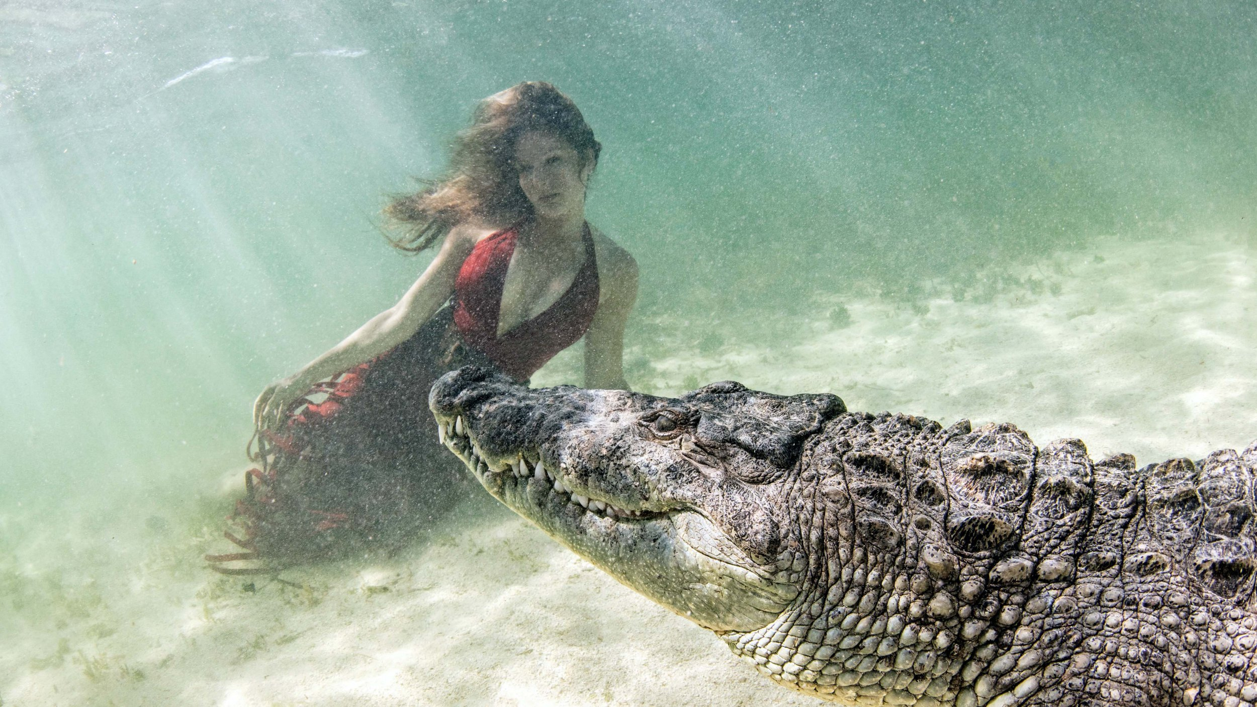 A model poses with a crocodile at Chinchorro Banks, Mexico