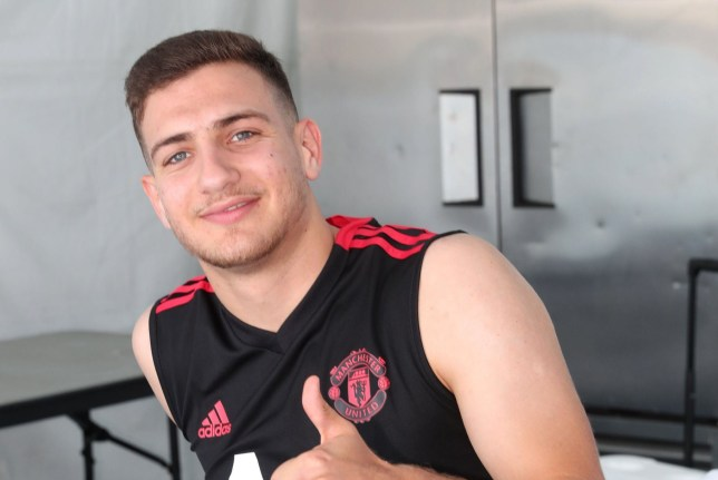 LOS ANGELES, CA - JULY 16: (EXCLUSIVE COVERAGE) Diogo Dalot of Manchester United gives a thumbs up during a Manchester United pre-season training session at UCLA on July 16, 2018 in Los Angeles, California. (Photo by John Peters/Man Utd via Getty Images)