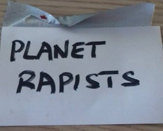 - Picture of the note left on Judith Cook's door after she concreted over her garden TRIANGLE NEWS 0203 176 5581 // contact@trianglenews.co.uk A MUM-of-two was astonished when she woke up to find notes pinned to her front door calling her a ?planet rapist? after she concreted over her tiny front garden. Judith Cook couldn?t believe her eyes when she found the hand-written notes attached to her door just a few days after she covered the tiny patch of land outside her terraced home. She and partner Michael Simpson, 33, bought the house at the end of last year and have totally renovated it. *Full story filed via the wires*