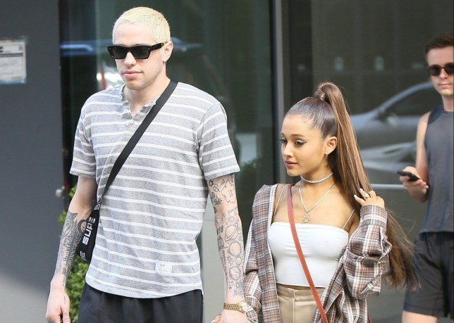 BGUK_1290313 - ** RIGHTS: ONLY UNITED KINGDOM ** New York, NY - Ariana Grande and Pete Davidson go shopping at Barney's New York before heading an ice cream shop. The couple look happy as can be as they walk hand in hand with big smiles. Ariana rocks suede knee high boots with a brown flannel shirt over a white top and light brown skirt. Pictured: Ariana Grande, Pete Davidson BACKGRID UK 16 JULY 2018 UK: +44 208 344 2007 / uksales@backgrid.com USA: +1 310 798 9111 / usasales@backgrid.com *UK Clients - Pictures Containing Children Please Pixelate Face Prior To Publication*
