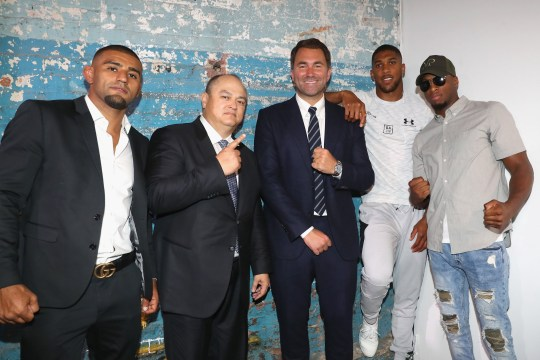 Anthony Joshua and Jarrell Miller clash at DAZN press