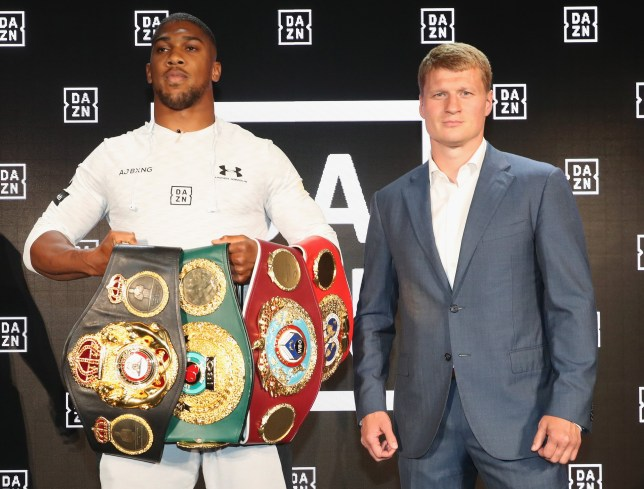 NEW YORK, NY - JULY 17: Matchroom fighters Anthony Joshua (L) and Alexander Povetkin onstage at the U.S. launch of DAZN - The Future of Sports Streaming at Industria Studios on July 17, 2018 in New York City. (Photo by Johnny Nunez/Getty Images for DAZN)