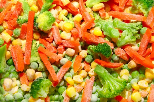 Close-up of colorful Mixed Frozen Vegetable