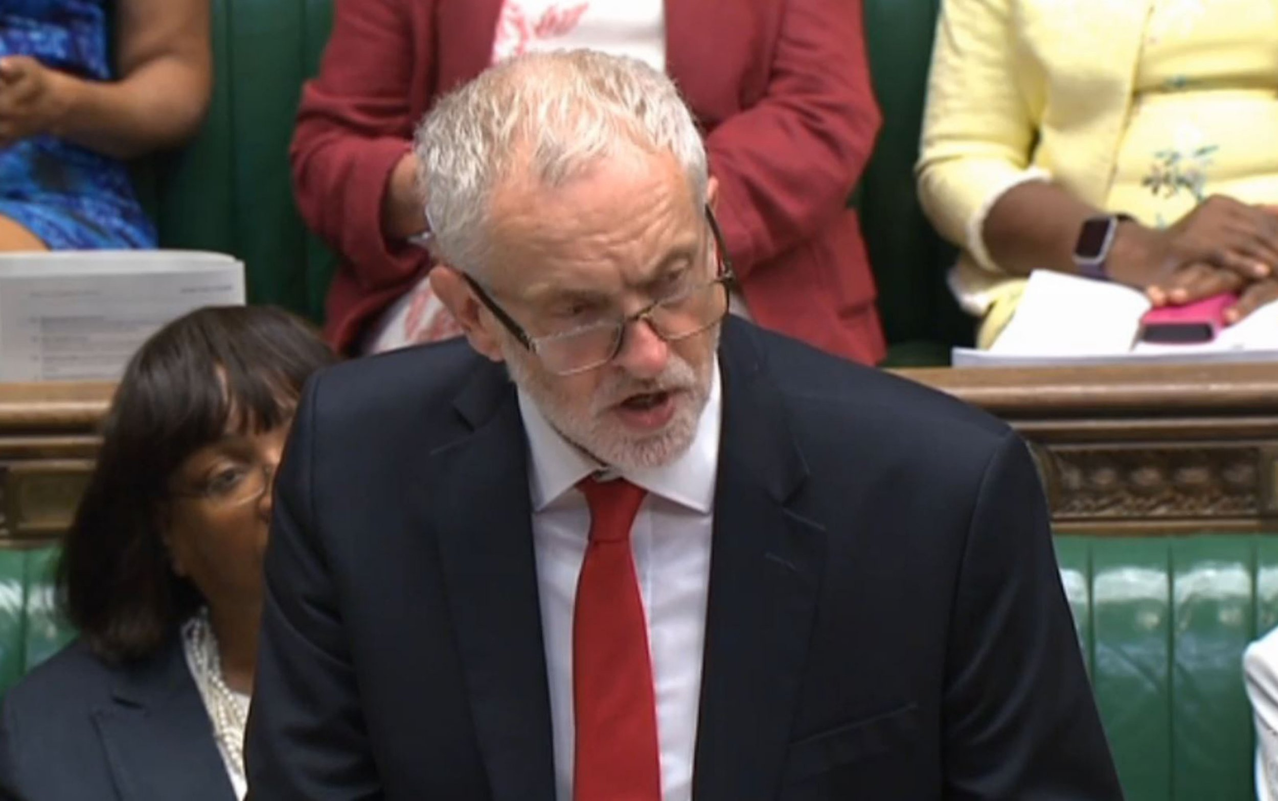 Labour leader Jeremy Corbyn speaking after Prime Minister Theresa May gave a statement on the Nato Brussels Summit 2018 in the House of Commons, London.