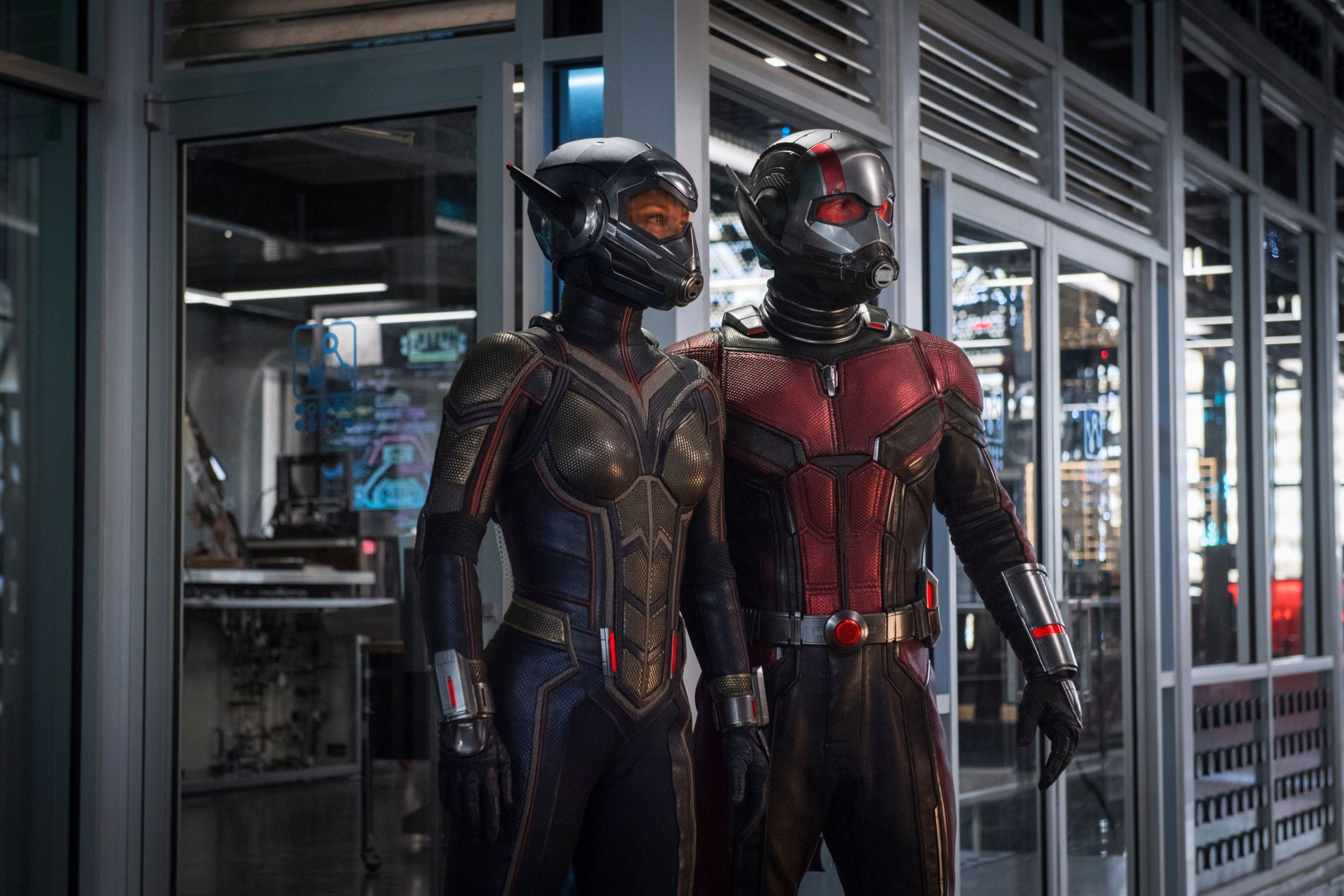 """No Merchandising. Editorial Use Only. No Book Cover Usage Mandatory Credit: Photo by Marvel/Disney/Kobal/REX/Shutterstock (9745665y) Evangeline Lilly, Paul Rudd """"Ant-Man and the Wasp"""" Film - 2018"""