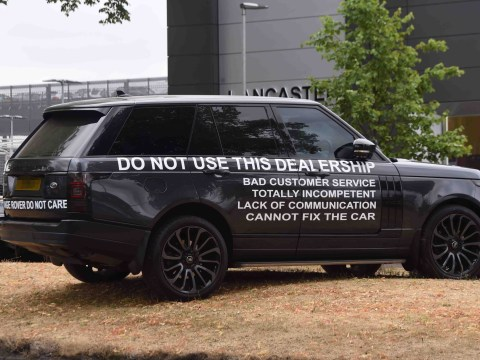 Driver prints bad review of car dealership on Range Rover and dumps it outside