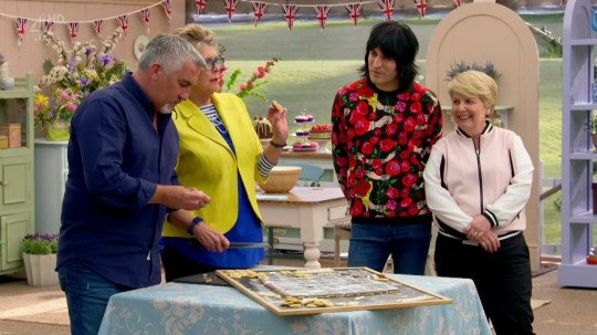 For the show stopper challenge bakers are asked to make a biscuit board game on 'The Great British Bake Off'. Broadcast on Channel 4 Featuring: Paul Hollywood, Prue Leith, Noel Fielding, Sandi Toksvig When: 05 Sep 2017 Credit: Supplied by WENN **WENN does not claim any ownership including but not limited to Copyright, License in attached material. Fees charged by WENN are for WENN's services only, do not, nor are they intended to, convey to the user any ownership of Copyright, License in material. By publishing this material you expressly agree to indemnify, to hold WENN, its directors, shareholders, employees harmless from any loss, claims, damages, demands, expenses (including legal fees), any causes of action, allegation against WENN arising out of, connected in any way with publication of the material.**