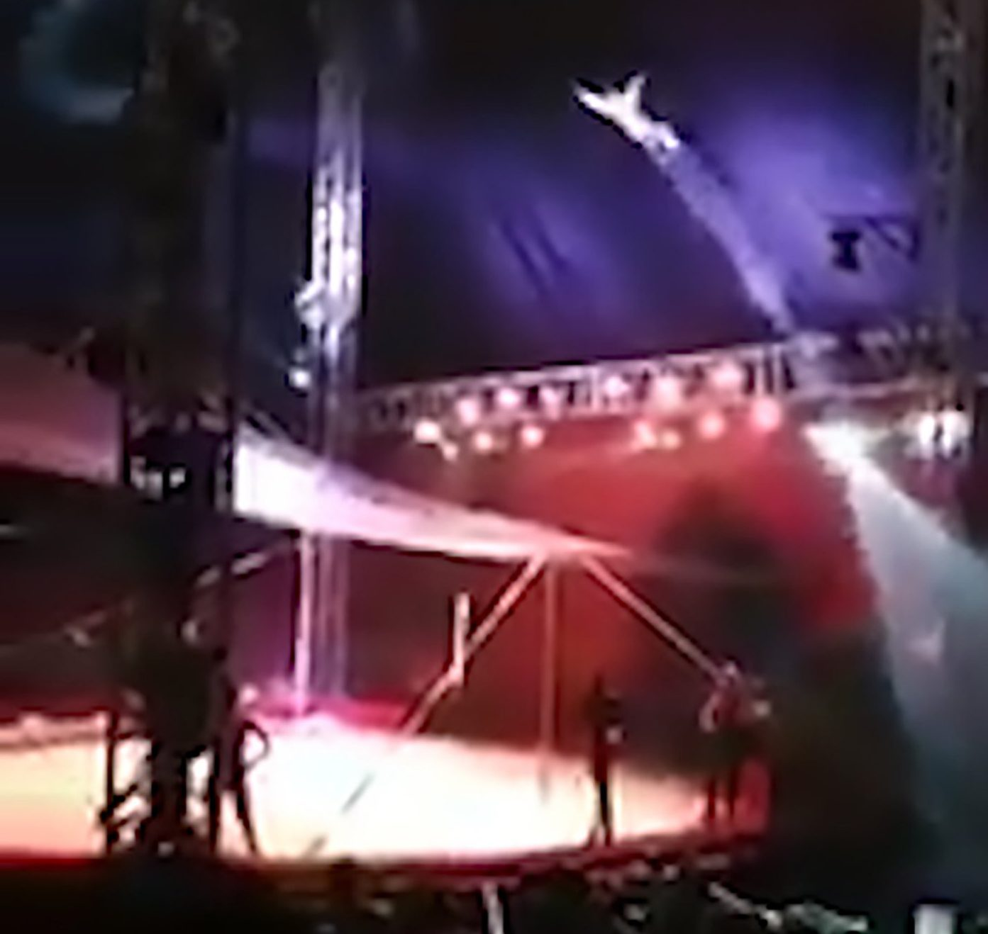 "Pic Shows: The man being shot out of the canon and sent airborne; This is the startling moment a circus performer is blasted out of a cannon and flies through the air but he overshoots the net and reportedly hit a clown. The images were recorded at the American Circus in the Arauco Maipu shopping centre in the Maipu district of the Chilean capital Santiago. In the video, a circus ring can be seen complete with spotlight and a large crowd when a performer comes flying over the back curtain having reportedly been fired from a cannon. The performer, known as ???Hombre Bala??? (Bullet Man) flies through the air but overshoots his landing and crashes to the floor in between two stands packed with spectators. Local media report the performer fell into a clown who was knocked to the ground. The Bullet Man reportedly was reportedly rushed to a local hospital where he was treated for fractures to his jaw and knees whilst the clown was unharmed. The injured performer is reportedly still under observation but in a stable condition. The operator of the cannon took the blame for the incident, telling local media: ""It was a mistake on my part, my apologies especially to the audience. ""I did not disconnect the air-supply hose and the compressor made the air return from the accumulator which then raised the pressure causing a longer distance than what is always programmed."" American Circus told reporters that their programmed shows will continue as planned."