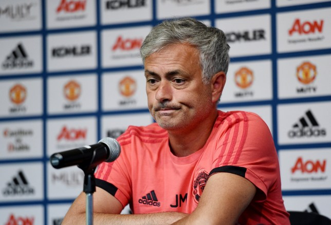 LOS ANGELES, CA - JULY 24: Manager Jose Mourinho of Manchester United speaks during a news conference at UCLA on July 24, 2018 in Los Angeles, California. (Photo by Kevork Djansezian/Getty Images)