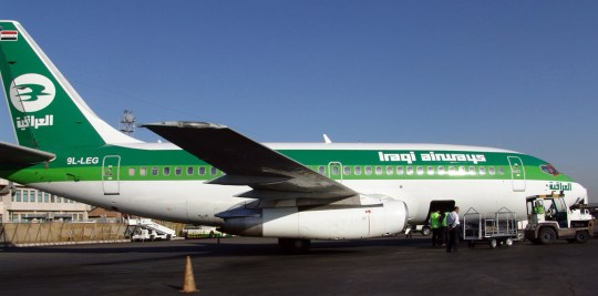 An Iraqi Airways plane lands in Tehran's Mehrabad international airport November 6, 2005. The first Iraqi passenger flight for 25 years landed in Tehran on Sunday, an Iranian aviation official said. REUTERS/Stringer/iran - RP2DSFHXUVAD