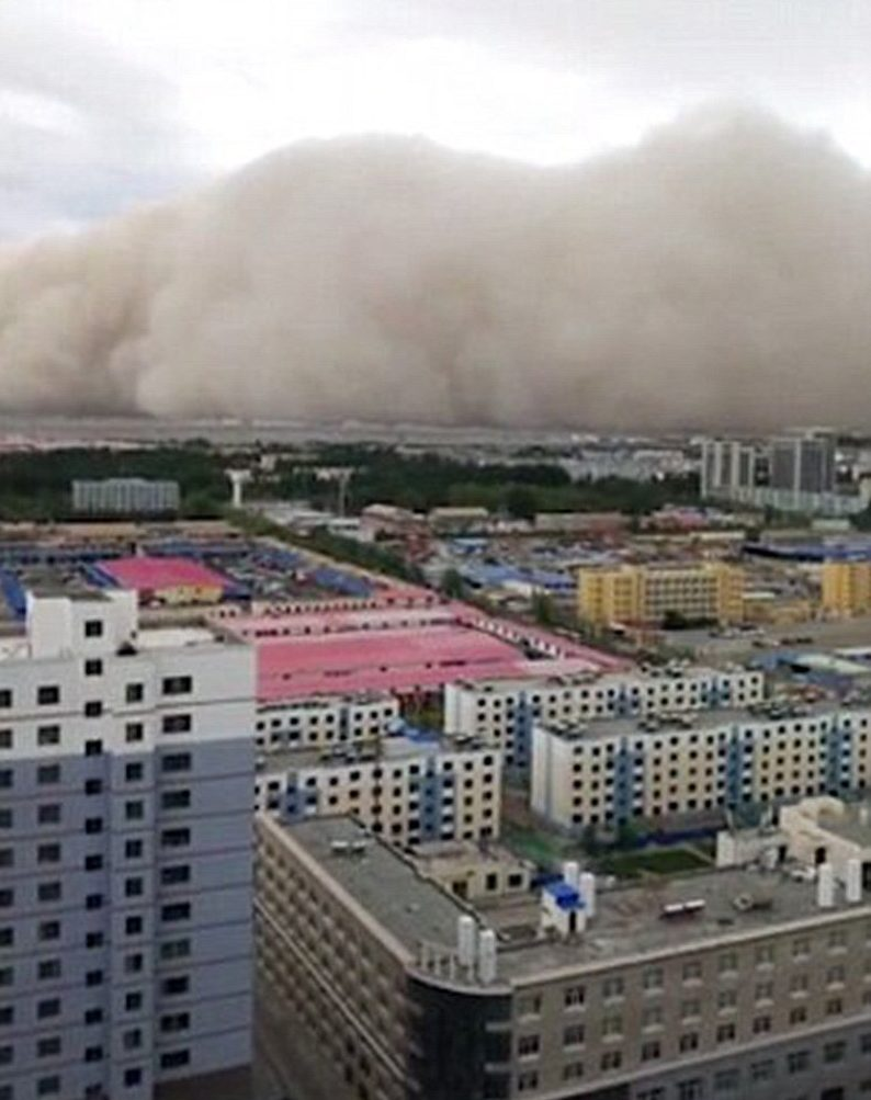 (Picture: Weibo) A huge sandstorm yesterday swept across a city in northern China within minutes. Apocalyptic video footage, taken by residents, shows how the cloud of thick dust more than 100 feet tall engulfed the city of Golmud in Qinghai Province. The sandstorm was accompanied by gale-force winds of up to 20.7 metres per second, according to China Global Television Network.