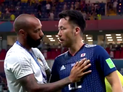 Thierry Henry and Romelu Lukaku console Japan players after Belgium comeback