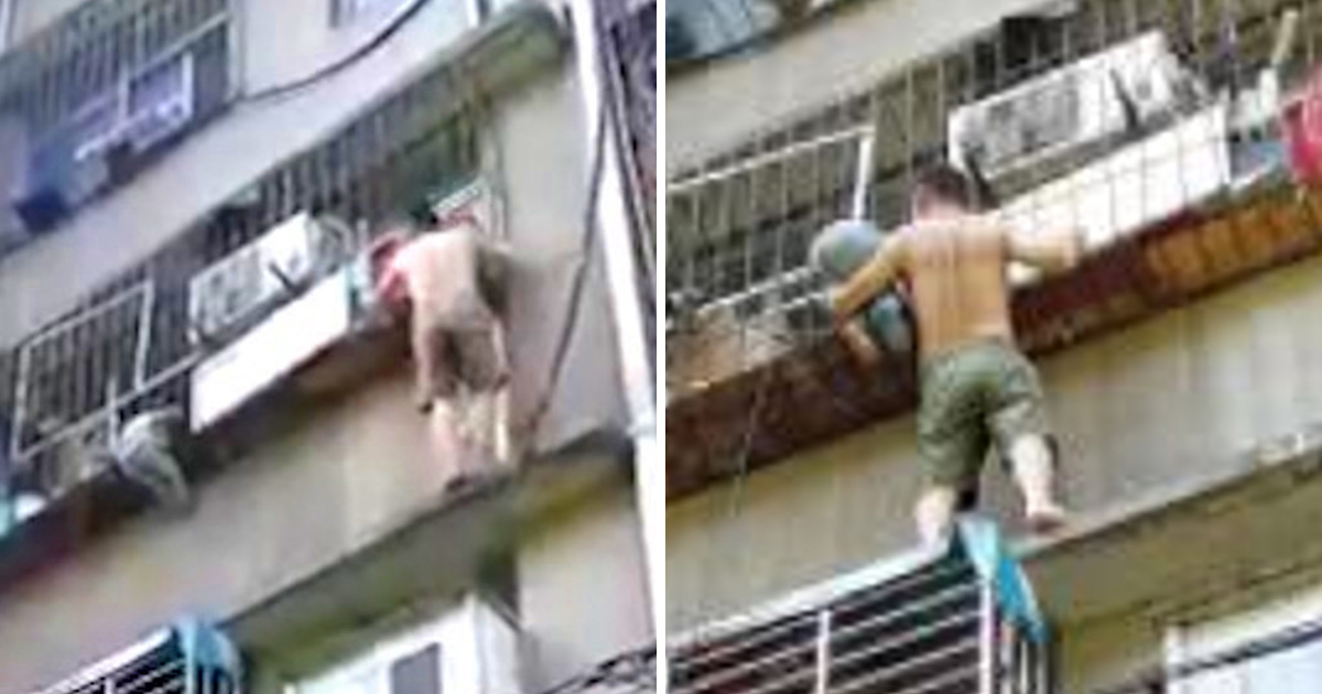 Heroic neighbour scales outside of building to rescue child hanging by neck from third floor