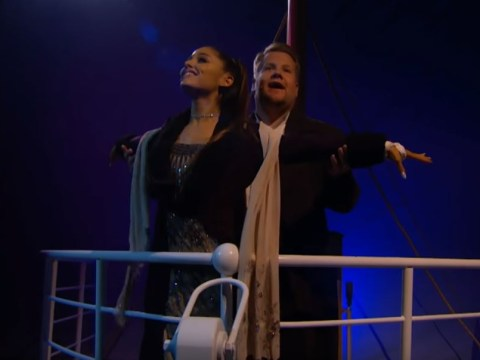 Ariana Grande embodies Celine Dion as she and James Corden remake Titanic in one epic take