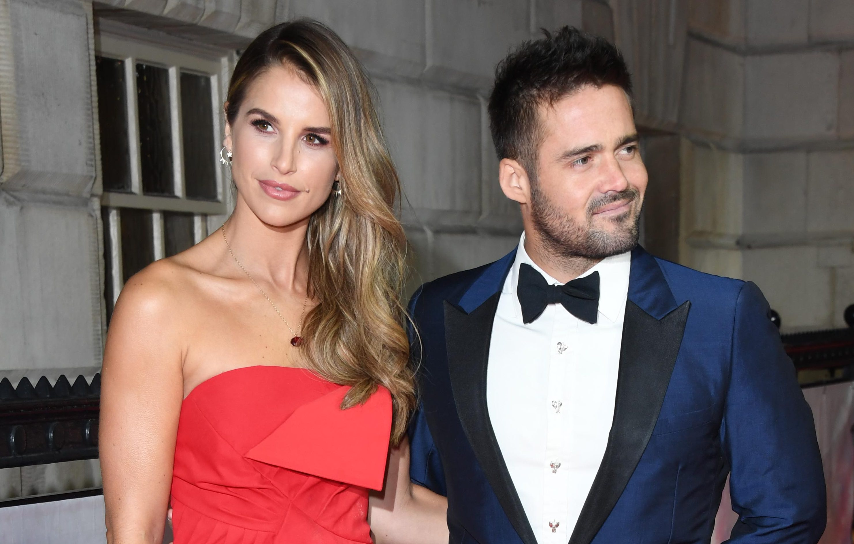 When is Vogue Williams due and when was her wedding to Spencer Matthews?