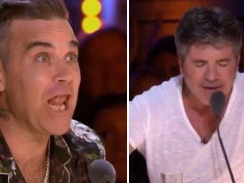 Robbie Williams causes trouble by stealing Simon Cowell's catchphrase in new X Factor trailer