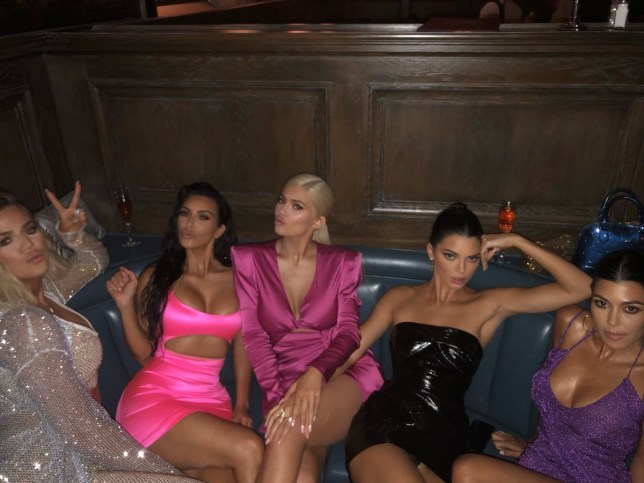 Kim, Kourtney, Khloe Kardashian and Kendall Jenner were out in force for Kylie's birthday (Picture: Twitter)
