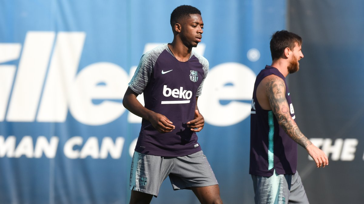 Ousmane Dembele returns to Barcelona training early to win place despite Arsenal links