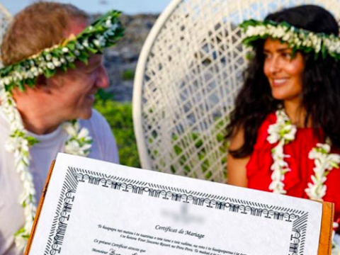 Salma Hayek renews her vows with François-Henri Pinault in surprise wedding ceremony in Bora Bora