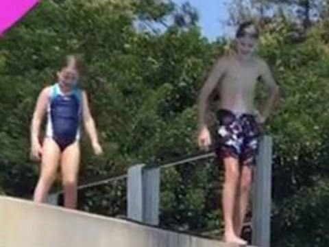 Harper Beckham shows no fear as father David captures her leaping from high dive board