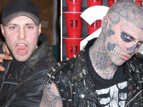 Rick Genest before and after his defining 'Zombie Boy' tattoos