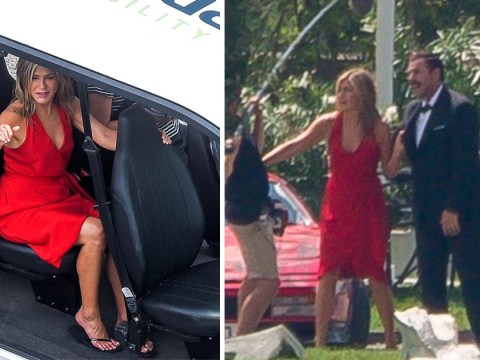 Jennifer Aniston and Adam Sandler row in the street as they film scenes for Murder Mystery