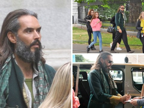 Russell Brand turns silver fox as he rocks grey-flecked beard on Four Kids And It set in Dublin
