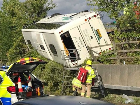 Baby boy born at scene where coach overturned on M25