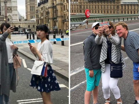 Tourists continue to take selfies at cordon of Westminster crash