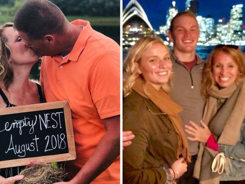 Couple poses for empty nest photoshoot to celebrate dropping their youngest child off at uni