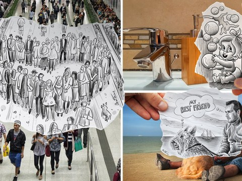 Artist creates quirky snapshot pencil sketches within his travel pictures