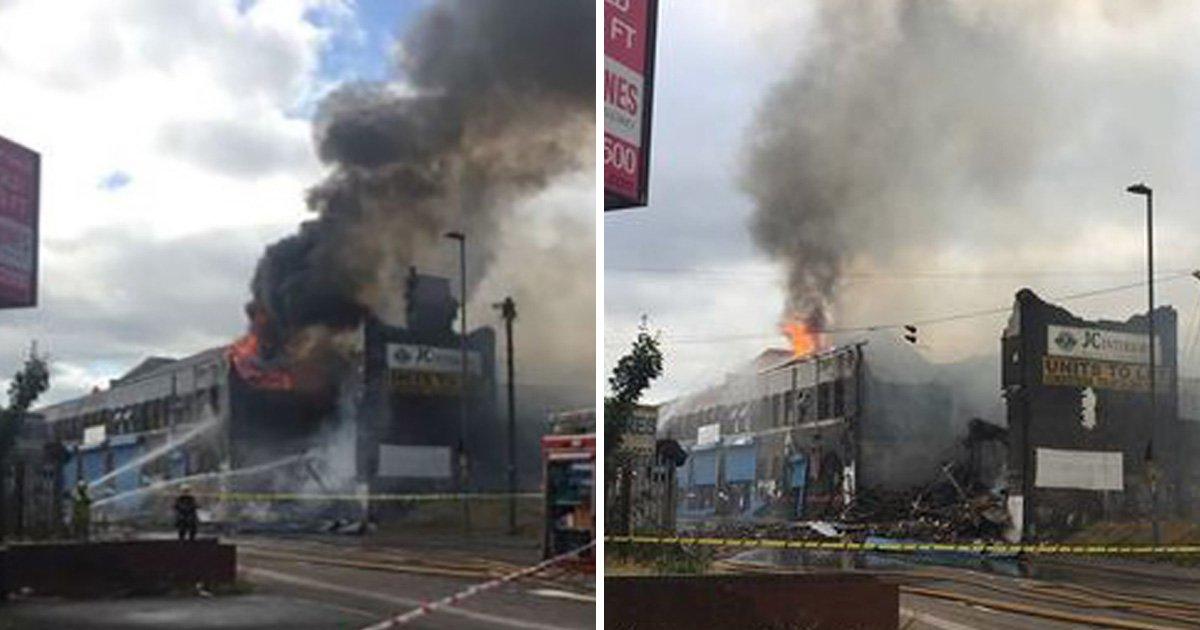 Huge fire rips through derelict factory in Birmingham