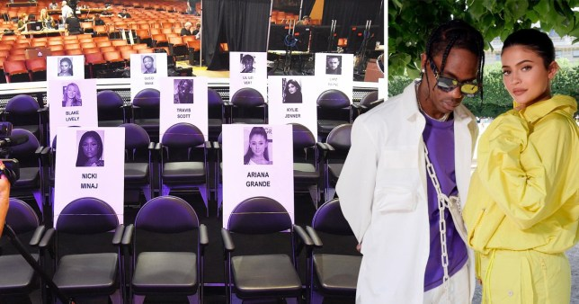 Nicki Minaj seated in front of Travis and Kylie at VMAs after calling them both out