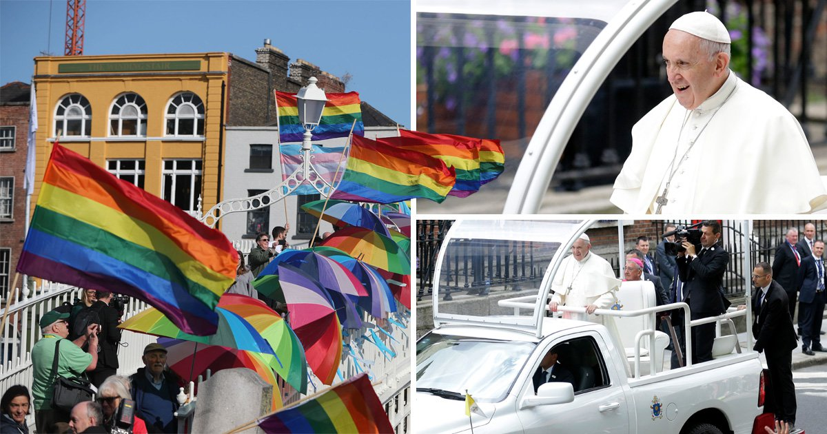 Pope Francis welcomed to Ireland with sea of Pride flags