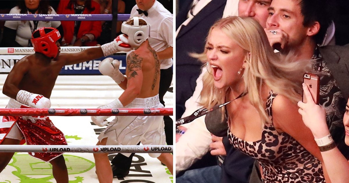 Corrie's Lucy Fallon goes wild at the Logan Paul and KSI boxing match