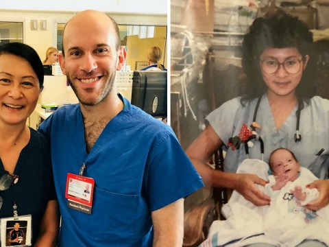 Intensive care nurse finds out new colleague is baby she treated 28 years ago