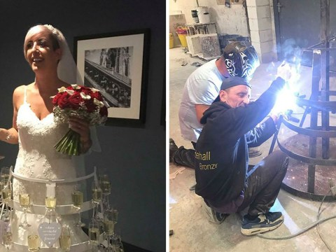 Bride wears wedding dress that holds 50 glasses of prosecco