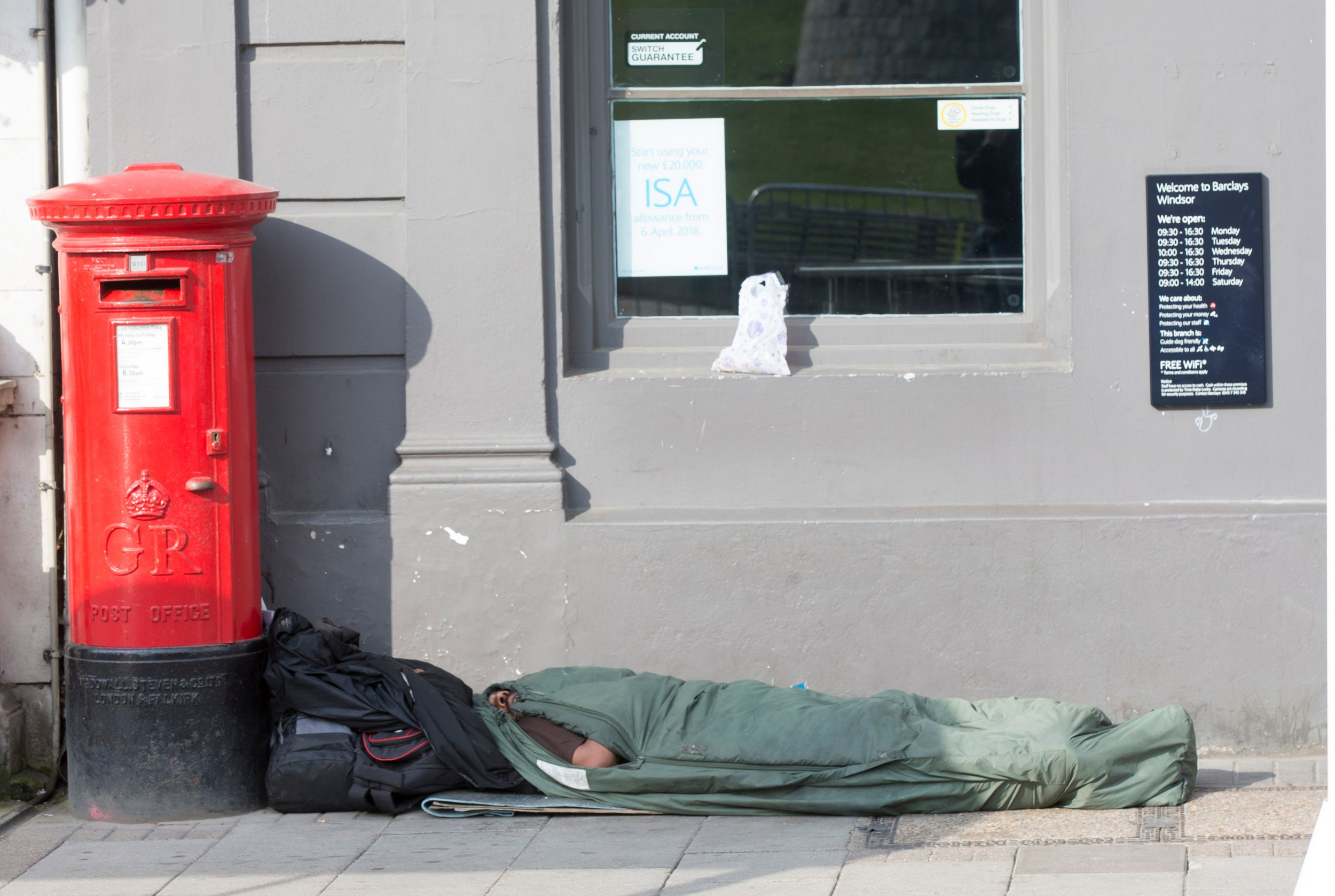 Mandatory Credit: Photo by REX/Shutterstock (9675430t) Homeless people in Windsor Preparations for the Royal Wedding, Windsor, UK - 16 May 2018