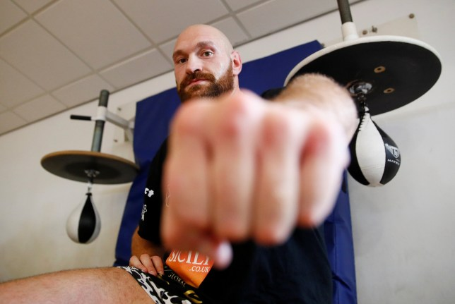Boxing - Carl Frampton & Tyson Fury open work-outs - Hatton Health and Fitness, Hyde, Britain - July 31, 2018 Tyson Fury during his work out Action Images via Reuters/Jason Cairnduff